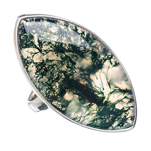 Large Green Moss Agate Ring Size 9 (925 Sterling Silver) - Handmade Boho Vintage Jewelry RING909119 ()
