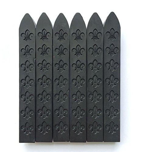UNIQOOO Arts & Crafts Pack of 12 Matt Black Sealing Wax Sticks for Wax Seal Stamp (Non-Wick),Great for Embellishment of Cards Envelopes, Wedding Invitations, Wine Packages