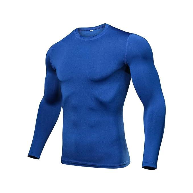 Camisetas Elásticas de Secado Rápido Tops Running Climbing Long Sleeve T-Shirts Color Azul M