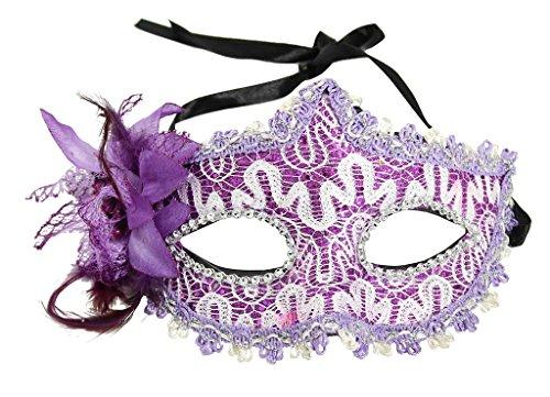 [EPYA Women Venetian Fancy Dress Feather Floral Cosplay Costume Mask Purple, Purple, One Size] (Couple Costumes Halloween)
