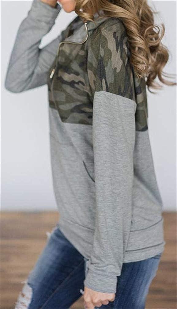 XiaoTianXinWomen XTX Women Cargo Autumn Pocket High Neck Printed Pullover Sweatshirts