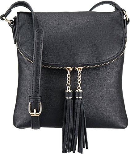 B BRENTANO Vegan Medium Flap-Over Crossbody Handbag with Tassel Accents (Black(N))