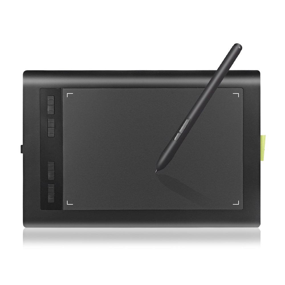 Graphic Tablet AP1060 10 x 6 inch 8 Hot Keys 2048 Level with Battery-free Stylus Passive pen for Windows 10/8/7 &Mac OS,Artist Designer,Amateur Hobbyist,Gift for Kids