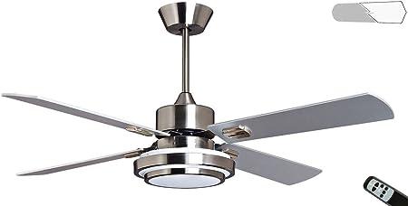 PURLINE Ventilador de Techo con Luz LED, 4 Palas Reversibles ...