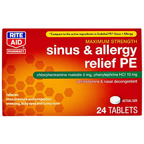 Rite Aid Sinus & Allergy Relief PE Tablets, Maximum Strength - 24 Count | Antihistamine and Nasal Decongestant