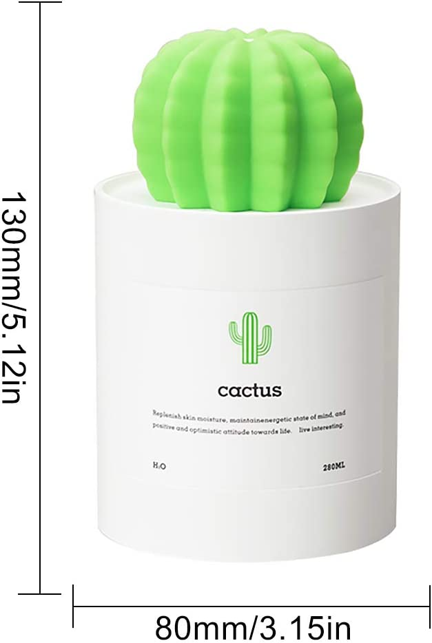 Mist - Mini difusor purificador Cactus humidificador blanco 280 ml Home Office USB portátil: Amazon.es: Amazon.es