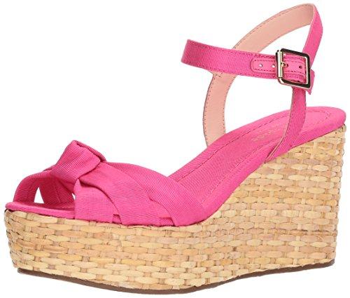 Kate Spade New York Women's Tilly Wedge Sandal, Pink Grosgrain, 7.5 Medium US by Kate Spade New York