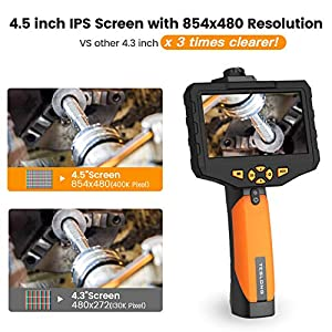 Teslong Dual Lens Borescope, NTS300 4.5inch Screen Endoscope Inspection Camera with 8mm Side-View Camera and Direct-View Camera 2-in-1 Probe(16.4ft, Waterproof IP67, 2600mAh Battery, 32GB TF Card) (Tamaño: w/16.5ft Dual Lens Probe)