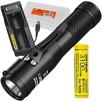 Nitecore Concept 1 1800 Lumen LED Compact Everyday Carry Flashlight PLUS Nitecore UM10 Single-Port USB Digi-Charger, 3100mAh IMR 18650 Rechargeable Battery, & LumenTac Battery Organizer