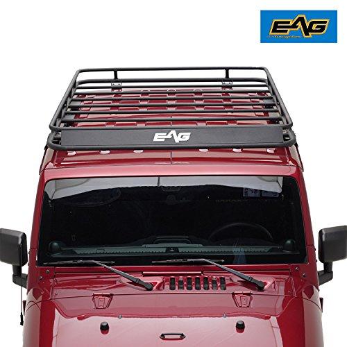 Textured Black Jeep Wrangler - EAG 2007-2018 Jeep Wrangler JK Full Length Roof Rack Cargo Basket (4.9' x 5.9' x 5.5