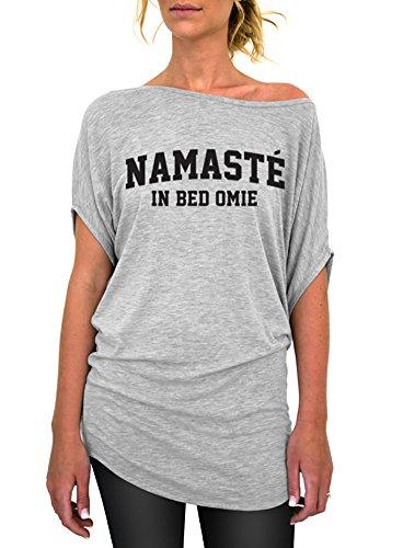 Yoga Clothing, Namaste in Bed Standard Slouchy Tee - Large Gray Black (Black Ink Design T-shirt)