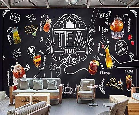 Papel pintado mural tiza pintada a mano pizarra fruta té ocio bar tienda de té café fondo mural de la pared papel pintado 3d-About_200 * 140cm_2_stripes: Amazon.es: Bricolaje y herramientas