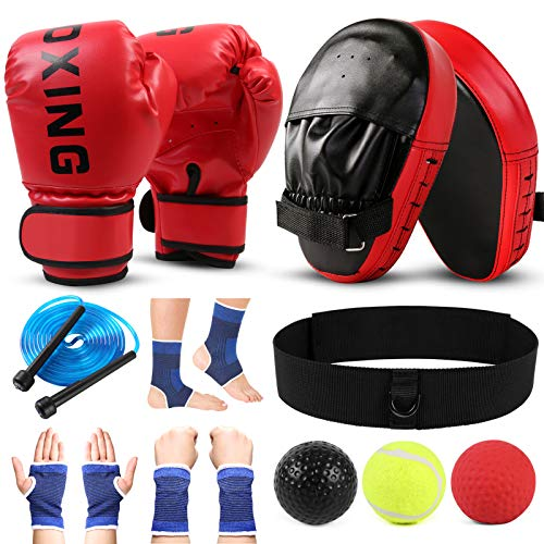 Odoland 7-in-1 Boxing Gloves and Punching Mitts Set for Kids, Boxing Mitts Focus Pads, Kids Boxing Gloves and Protect…