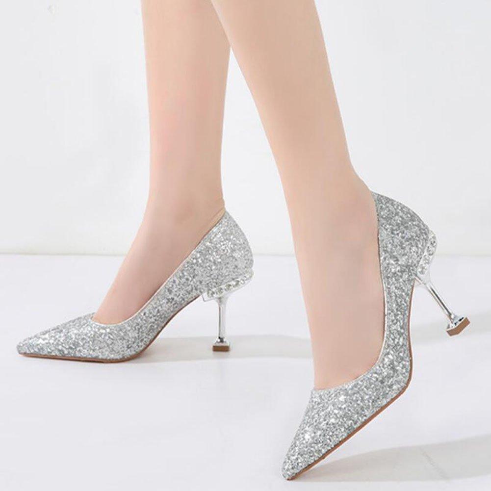 GAOLIXIA Frauen High Heels Frühling Komfort Sommer Pailletten Spitze Heels Komfort Frühling Schuhe Hochzeit Bankett Schwarz Rot Gold Silber Grau 5,5 & 8,5 cm (Farbe : ROT8.5cm, Größe : 34) - e1d2e6
