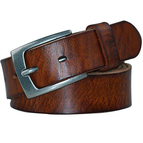 POL PARKMAN Mens Classic Jean Leather Belt Brown Color (Brown Leather Jeans Belt)