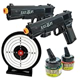 Black Ops 1911 Airsoft Guns Ready to Play Kit - Includes 2 Spring Powered Hand Guns with 800 Rounds of Ammo and a Reusable Get Target Safe for Indoor Use