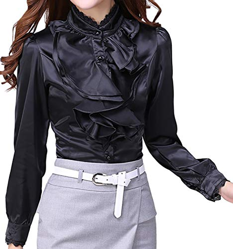 JHVYF Women's Chiffon Ruffled Long Sleeve Blouse Formal Work Button Down Shirt Black US 10(Asian Tag 2XL) -