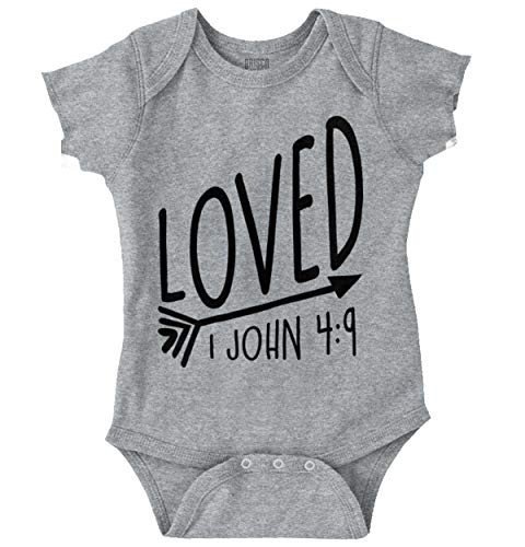 One Christian Toddler Shirt - Brisco Brands Loved Bible Verse Christian New Baby Gift Romper Bodysuit