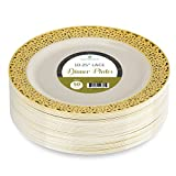 Elite Selection Pack Of 50 Dinner Disposable Plastic Plates Ivory Color With ...