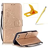 Wallet Case for iPhone 5C,Strap Portable Leather Case For iPhone 5C,Herzzer Stylish Bling Diamonds Gold Butterfly Embossed Pu Leather Purse Pouch Magnetic Closure Flip Folio Protective Case
