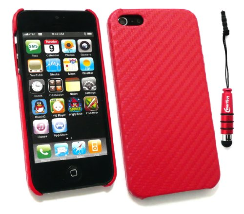 Emartbuy ® Stylus Pack Für Apple Iphone 5 Lcd Screen Protector + Metallic Mini Red Stylus + Carbon Effect Clip On Protection Case / Cover / Skin Red