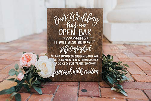 Wedding Open Bar Sign Rustic Wedding Signs Wooden Wedding Sign Wedding Decor 15x11
