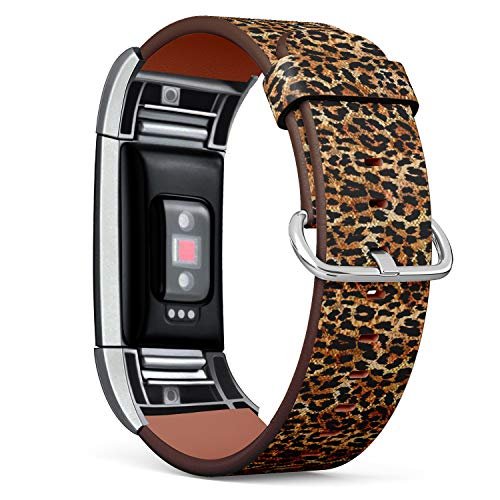 Compatible with Fitbit Charge 2 - Leather Band Bracelet Strap Wristband Replacement with Adapters - Leopard Animal -