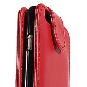 11020008C MaryJane ranuras para tarjetas de piel con tapa vertical para Apple iPhone 6 rojo