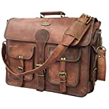 DHK 18 Inch Vintage Handmade Leather Messenger Bag for Laptop Briefcase Best Computer Satchel School distressed Bag