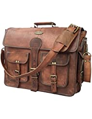 DHK 18 Inch Vintage Handmade Leather Messenger Bag for Laptop Briefcase Best Computer Satchel School distressed...