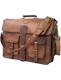18 Inch Vintage Handmade Leather Messenger Bag for Laptop Briefcase Best Computer Satchel School distressed Bag