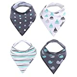 Organic Baby Bandana Drool Bibs, 4 Pack - Happy Waves Gift Set by Little Kims