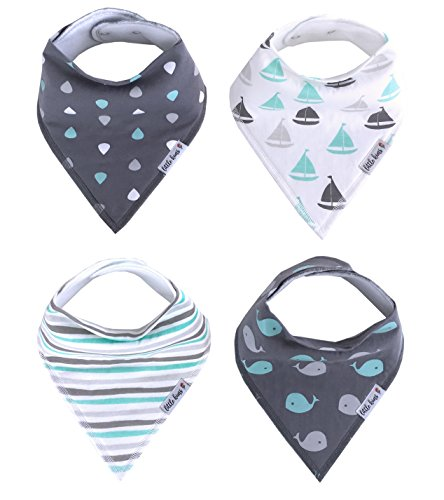 Organic Baby Bandana Drool and Teething Bibs, 4 Pack - Happy Waves Gift Set