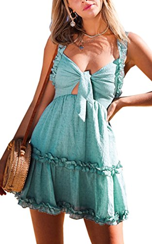 (Angashion Women's Dresses-Summer V Neck Ruffle Spaghetti Strap Tie Knot Front Skater Mini Cotton Dress)