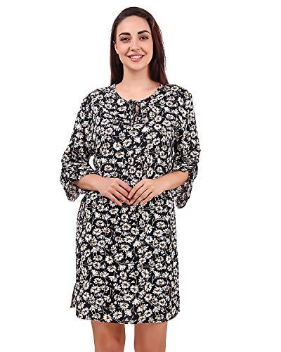 BoheeWohee Women Bohemian Vintage Neck-Tie Printed Ethnic-Style Summer Shift Scarf Dress with Pocket