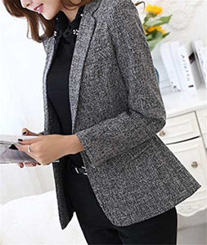 Domple Women One Button Long Sleeve Business Slim Fit Lapel Blazer Suit Jackets Gray M by Domple (Image #1)
