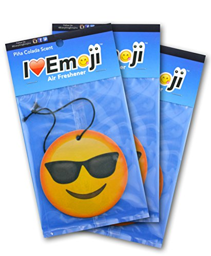 I EM JI Emoji Face with Sunglasses Air Freshener Pina Colada Scent ()