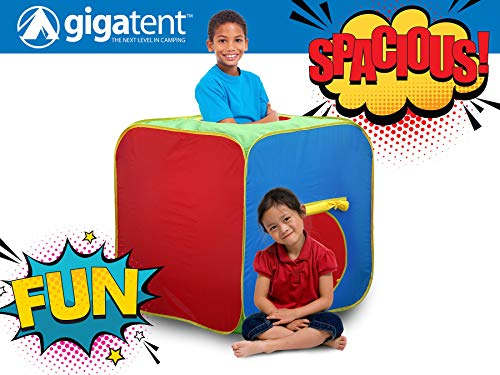 GigaTent Pop Up Kid's Play Cube Tunnel - Large Size, 3 Feet Tall x 3 Feet Long - Bright and Colorful, Easy Instant Assembly, Folds Flat - Includes Flat Storage -