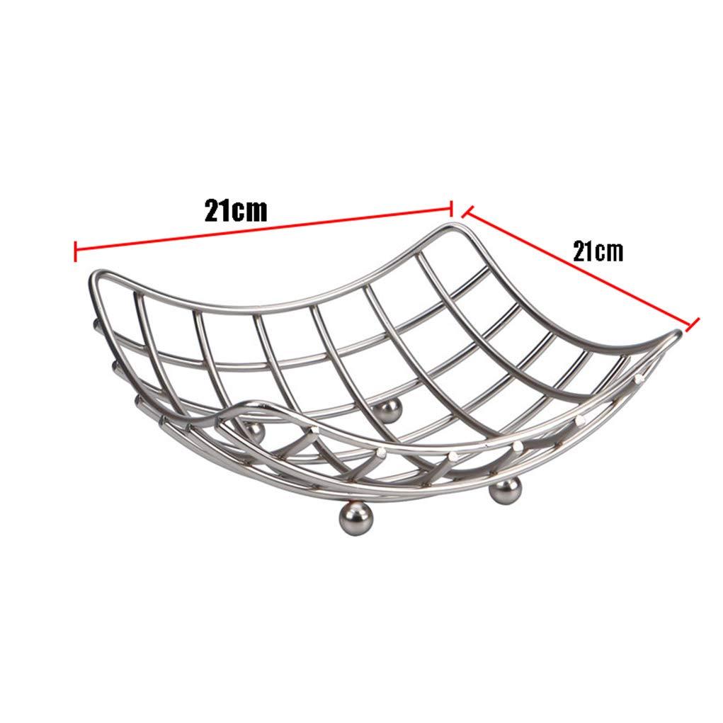 007 Fruit Bowls Square Modern Quality Fruit Vegetable Bowl Basket Nest Metal Wire Lattice Kitchen Rack
