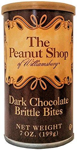 Brittle Bites (The Peanut Shop of Williamsburg Dark Chocolate Brittle Bites - 7 oz. Can)