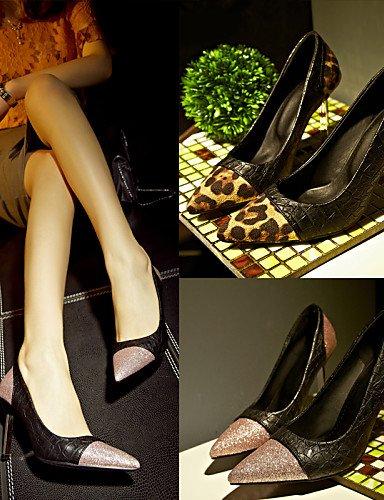 GGX/Damen Schuhe PU Sommer/Herbst Heels/spitz Toe Heels Büro & Karriere/Casual Stiletto Heel Split Gemeinsame Pink/Leopard pink-us6 / eu36 / uk4 / cn36