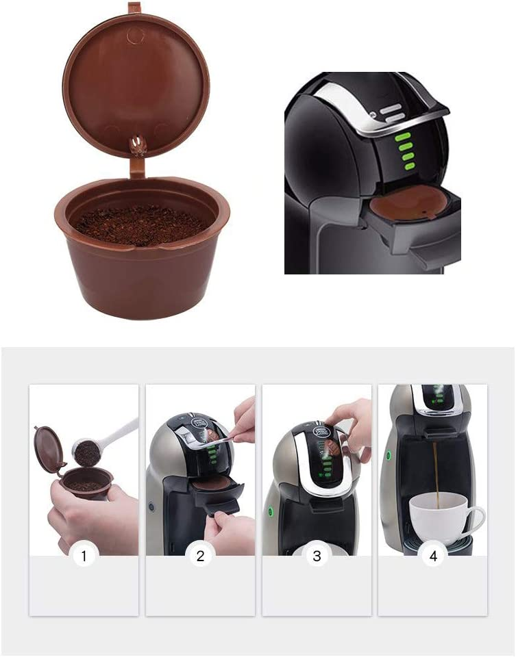 Kunststoff nachf/üllbar Kaffeefilterk/örbe Kapseln kompatibel mit Dolce Gusto Brewers Newin Star Wiederverwendbare nachf/üllbar Pods Kaffee