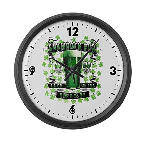 Large Wall Clock Shamrock Pub Irish St Patrick's Day