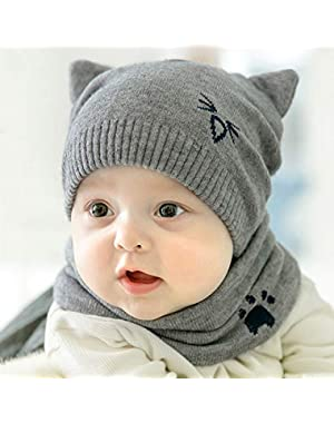 Cute Baby Comfortable Cat Knit Hat and Scarf Set Unisex Infant Toddler 6-24 Months