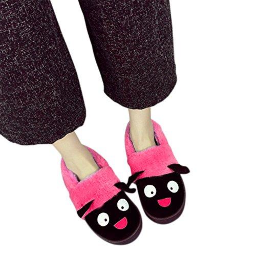 Par Inicio Zapatillas De Interior, Mujeres Hombres Ovejas De Dibujos Animados Suave Acogedor Algodón De Piel Sintética Calor Slip-on Zapatos Calzoncillo De Invierno Terciopelo Fleece Sueltas Muñecas Impermeable Antideslizante De Goma Botines Cortos Rose Red