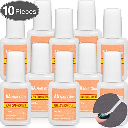 10 Packs Adhesive False Nail Glue Brush-On Nail Glue Quick Nail Glue for Nail Make Up Supplies