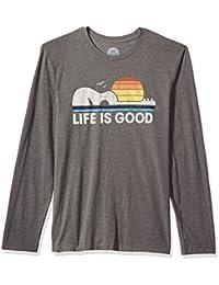 Men's Long Sleeve Cool Tee Guitar Dog Lig Slagry T-Shirt,