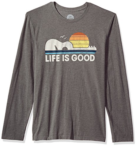 Life is good Men's Long Sleeve Cool Tee Guitar Dog, Slate Gray, X-Large (Guitar Good Mens)