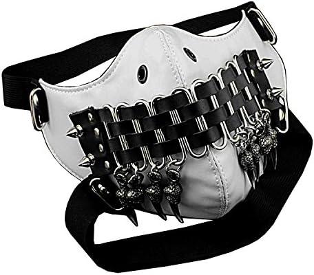 Steampunk Mask Claw Tassels Studded Cosplay Costume Masque Men/Women White