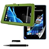 kwmobile 3in1 set: Elegant synthetic leather case for Acer Iconia B1-710 / B1-711 in green with convenient STAND FEATURE + Skin, crystal clear + Stylus, black